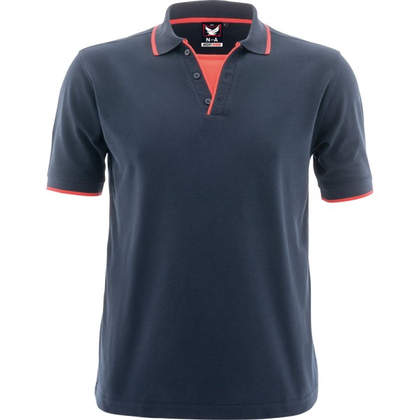 NundA Polo-Shirt Night Hawk marine/leuchtrot